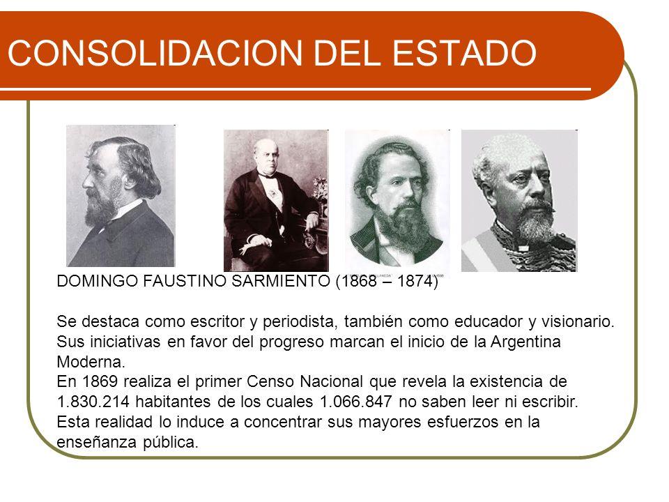 CONSOLIDACION DEL ESTADO DOMINGO FAUSTINO SARMIENTO (1868 – 1874) Se destaca como escritor y periodista, también como educador y visionario. Sus inici