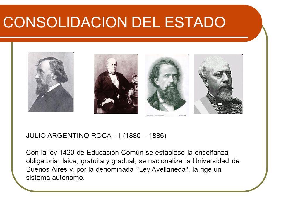 CONSOLIDACION DEL ESTADO JULIO ARGENTINO ROCA – I (1880 – 1886) Con la ley 1420 de Educación Común se establece la enseñanza obligatoria, laica, gratuita y gradual; se nacionaliza la Universidad de Buenos Aires y, por la denominada Ley Avellaneda , la rige un sistema autónomo.