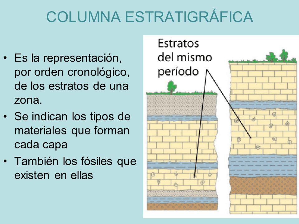 Es la representación, por orden cronológico, de los estratos de una zona. Se indican los tipos de materiales que forman cada capa También los fósiles