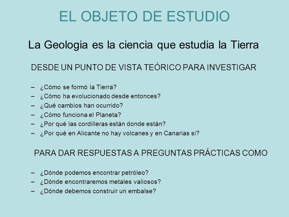 EL OBJETO DE ESTUDIO La Geologia es la ciencia que estudia la Tierra DESDE UN PUNTO DE VISTA TEÓRICO PARA INVESTIGAR –¿Cómo se formó la Tierra? –¿Cómo