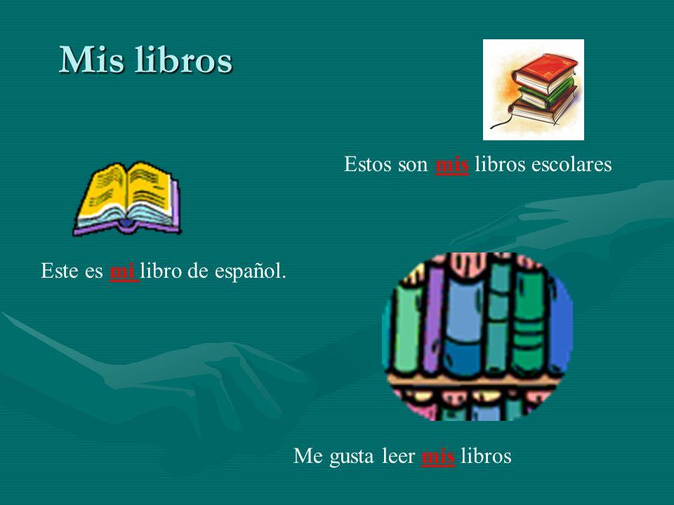 Mis libros Estos son mis libros escolares Este es mi libro de español. Me gusta leer mis libros