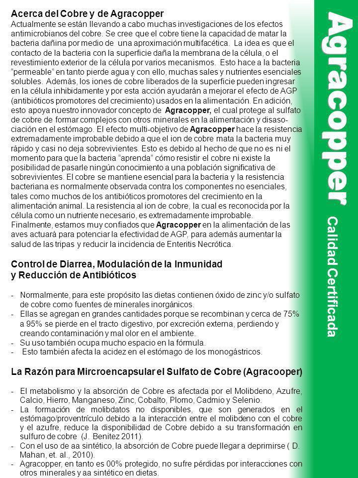 Calidad Certificada Acerca del Cobre y de Agracopper Actualmente se están llevando a cabo muchas investigaciones de los efectos antimicrobianos del co
