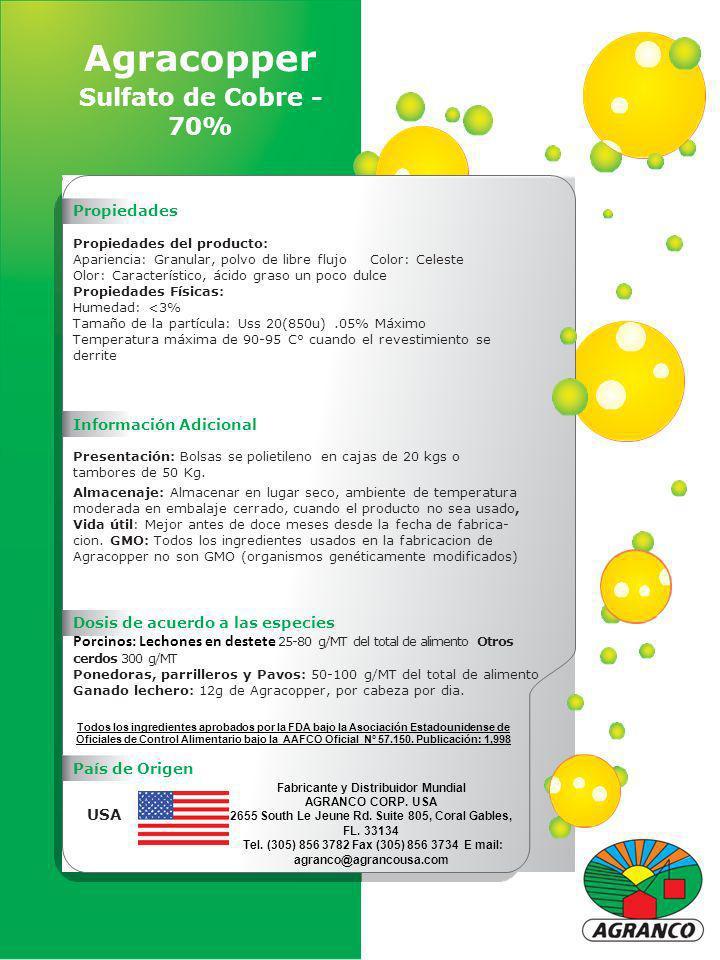 Agracopper Sulfato de Cobre - 70% Propiedades Propiedades del producto: Apariencia: Granular, polvo de libre flujo Color: Celeste Olor: Característico