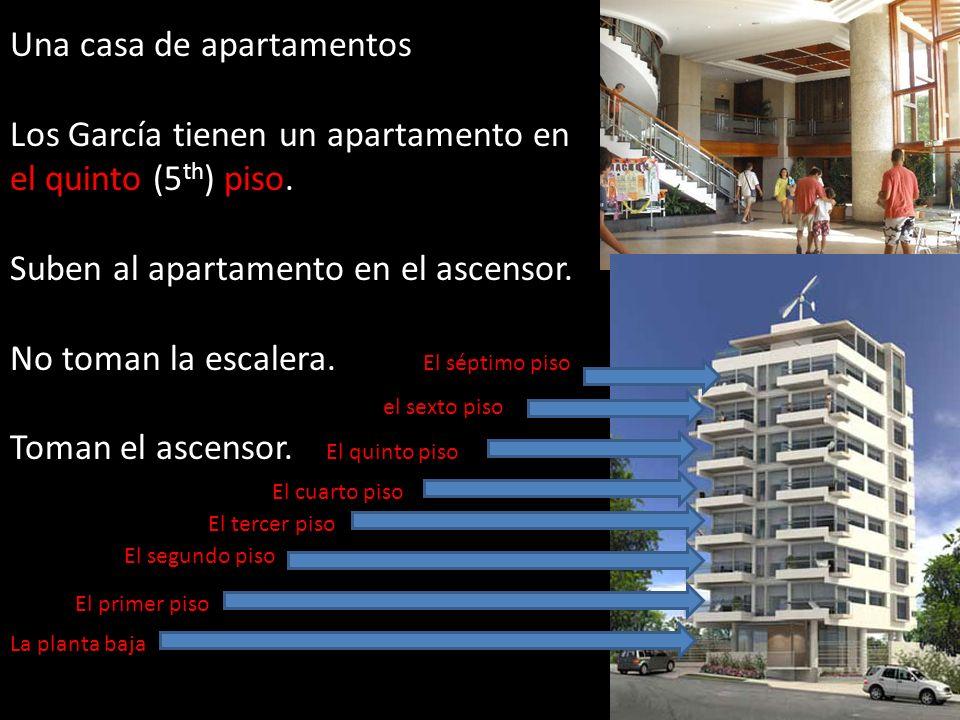 Una casa de apartamentos Los García tienen un apartamento en el quinto (5 th ) piso. Suben al apartamento en el ascensor. No toman la escalera. El sép