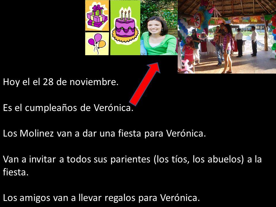 Hoy el el 28 de noviembre. Es el cumpleaños de Verónica. Los Molinez van a dar una fiesta para Verónica. Van a invitar a todos sus parientes (los tíos