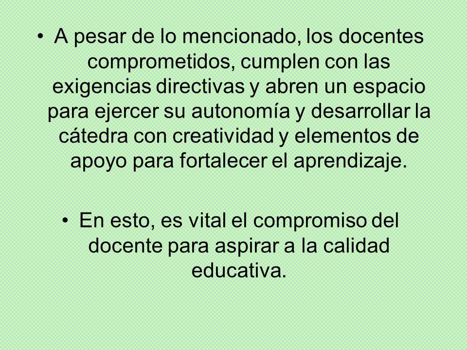A pesar de lo mencionado, los docentes comprometidos, cumplen con las exigencias directivas y abren un espacio para ejercer su autonomía y desarrollar
