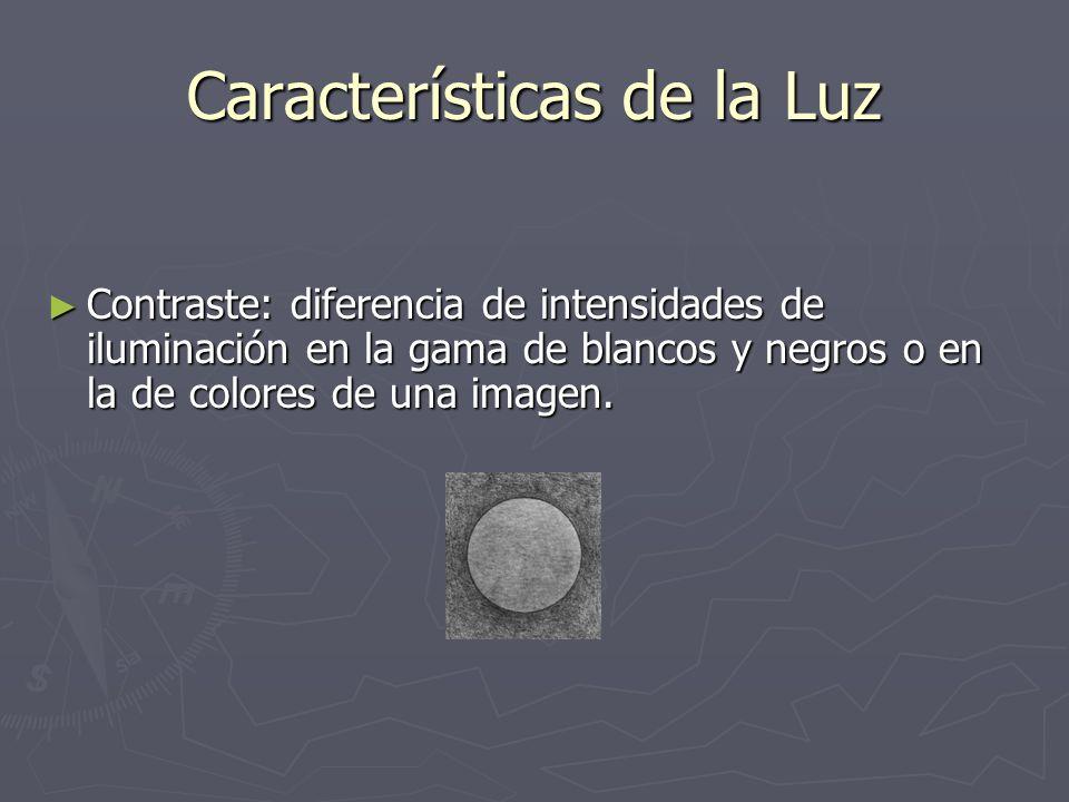 Características de la Luz Contraste: diferencia de intensidades de iluminación en la gama de blancos y negros o en la de colores de una imagen. Contra