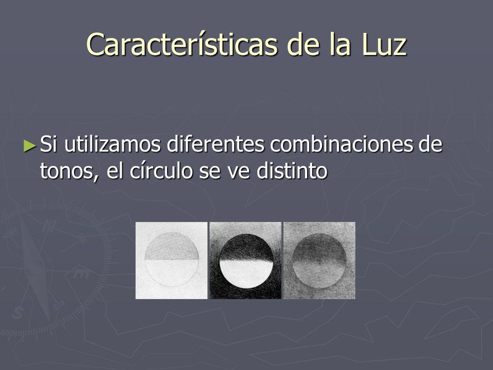 Características de la Luz Si utilizamos diferentes combinaciones de tonos, el círculo se ve distinto Si utilizamos diferentes combinaciones de tonos,