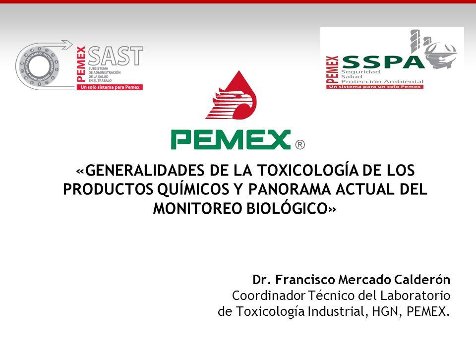 «GENERALIDADES DE LA TOXICOLOGÍA DE LOS PRODUCTOS QUÍMICOS Y PANORAMA ACTUAL DEL MONITOREO BIOLÓGICO» Dr. Francisco Mercado Calderón Coordinador Técni