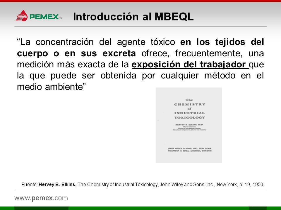 Introducción al MBEQL La concentración del agente tóxico en los tejidos del cuerpo o en sus excreta ofrece, frecuentemente, una medición más exacta de