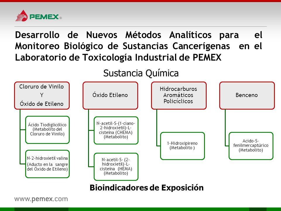 Desarrollo de Nuevos Métodos Analíticos para el Monitoreo Biológico de Sustancias Cancerígenas en el Laboratorio de Toxicología Industrial de PEMEX Cl