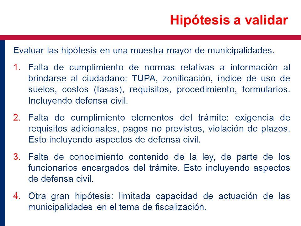 Evaluar las hipótesis en una muestra mayor de municipalidades. 1.Falta de cumplimiento de normas relativas a información al brindarse al ciudadano: TU