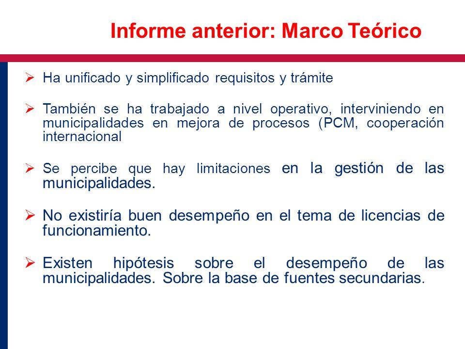 Ha unificado y simplificado requisitos y trámite También se ha trabajado a nivel operativo, interviniendo en municipalidades en mejora de procesos (PC