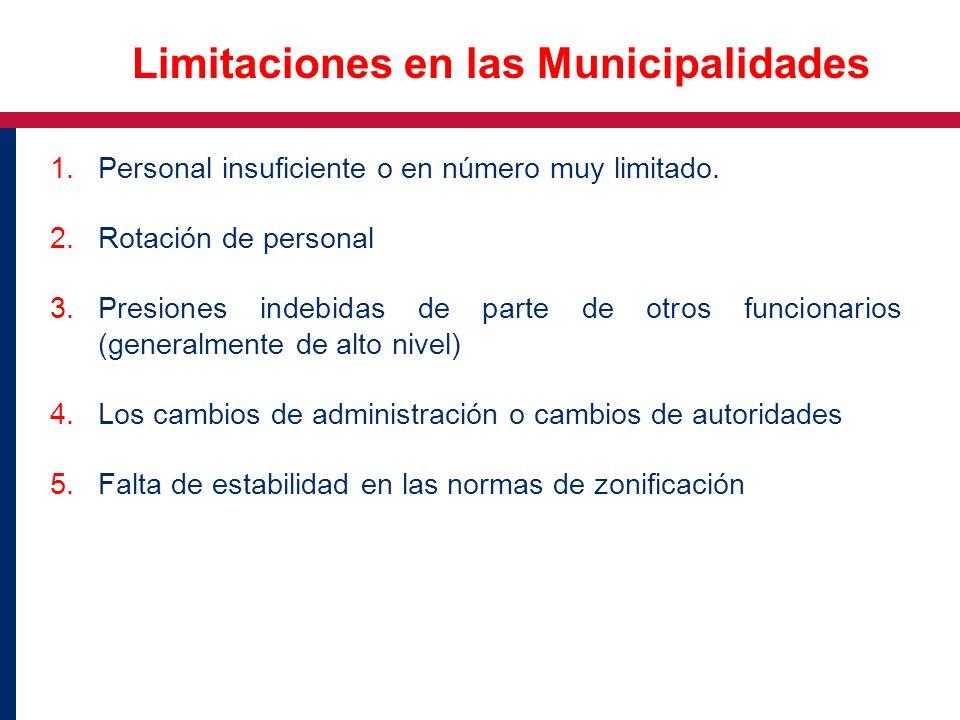 1.Personal insuficiente o en número muy limitado. 2.Rotación de personal 3.Presiones indebidas de parte de otros funcionarios (generalmente de alto ni