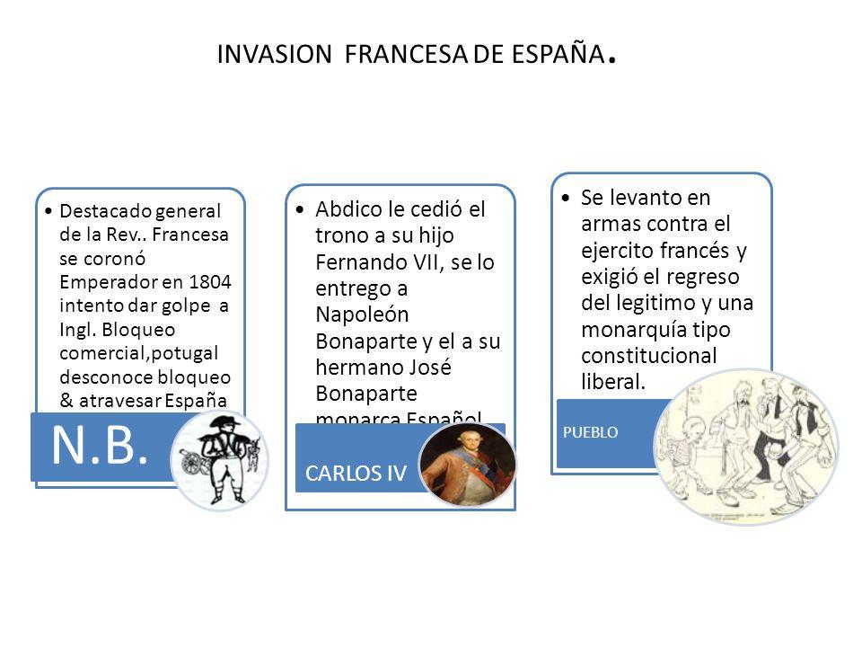 INVASION FRANCESA DE ESPAÑA. Destacado general de la Rev.. Francesa se coronó Emperador en 1804 intento dar golpe a Ingl. Bloqueo comercial,potugal de