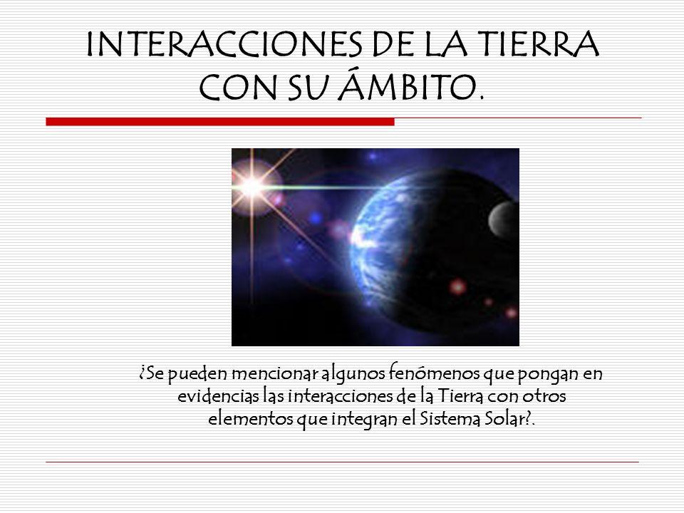 INTERACCIONES DE LA TIERRA CON SU ÁMBITO. ¿Se pueden mencionar algunos fenómenos que pongan en evidencias las interacciones de la Tierra con otros ele