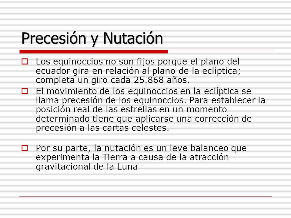 Precesión y Nutación Los equinoccios no son fijos porque el plano del ecuador gira en relación al plano de la eclíptica; completa un giro cada 25.868