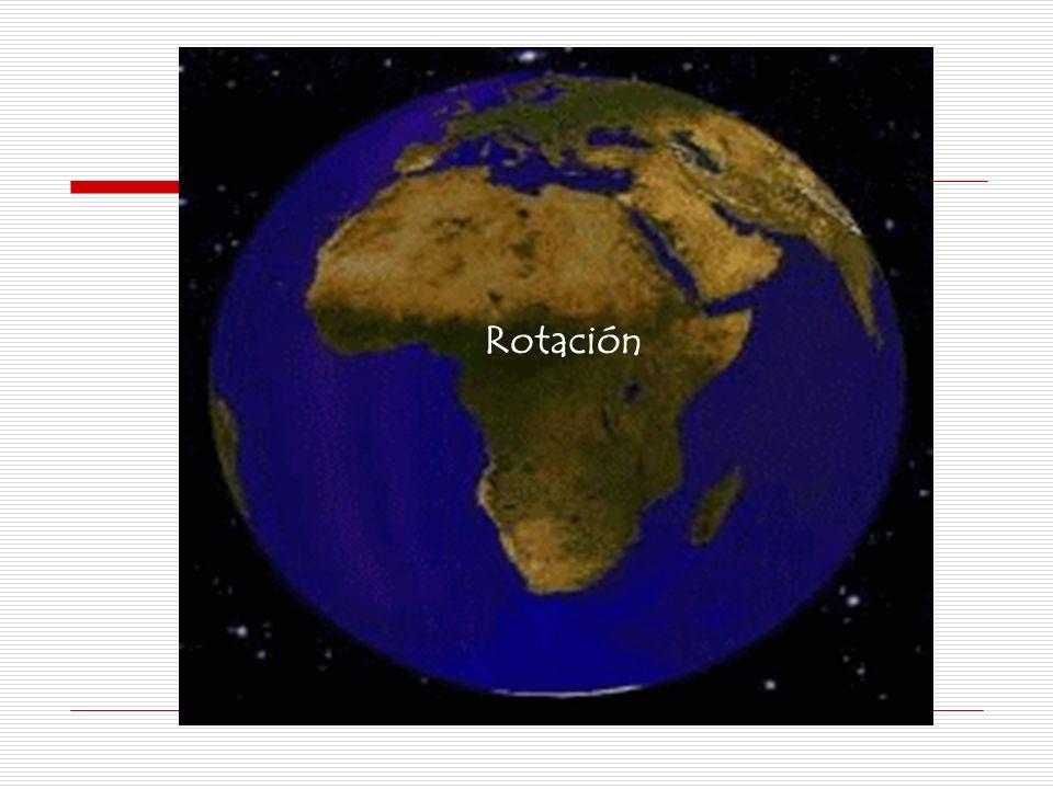 MOVIMIENTO DE ROTACIÓN CARACTERÍSTICAS: Gira sobre su eje de izquierda a derecha (Oeste a Este) Ejecuta una vuelta completa en un tiempo de 23h,56´4.