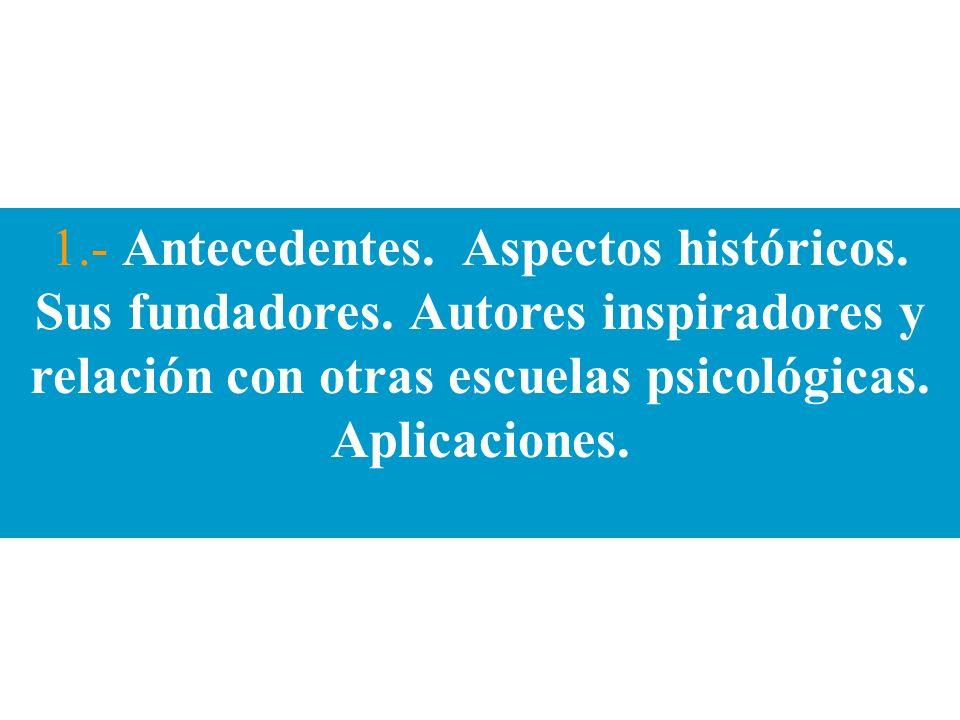 1.- Antecedentes. Aspectos históricos. Sus fundadores. Autores inspiradores y relación con otras escuelas psicológicas. Aplicaciones.