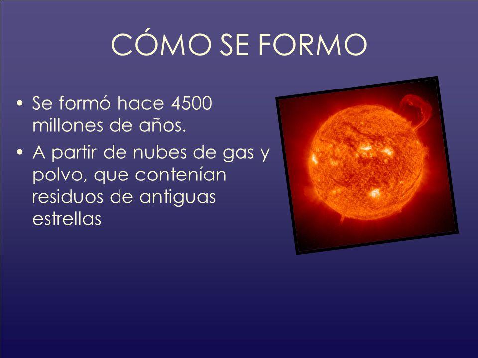 CÓMO SE FORMO Se formó hace 4500 millones de años. A partir de nubes de gas y polvo, que contenían residuos de antiguas estrellas