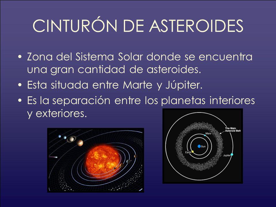 CINTURÓN DE ASTEROIDES Zona del Sistema Solar donde se encuentra una gran cantidad de asteroides. Esta situada entre Marte y Júpiter. Es la separación