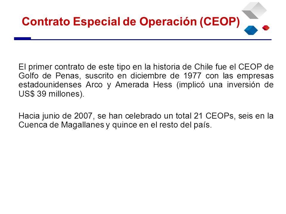 El primer contrato de este tipo en la historia de Chile fue el CEOP de Golfo de Penas, suscrito en diciembre de 1977 con las empresas estadounidenses