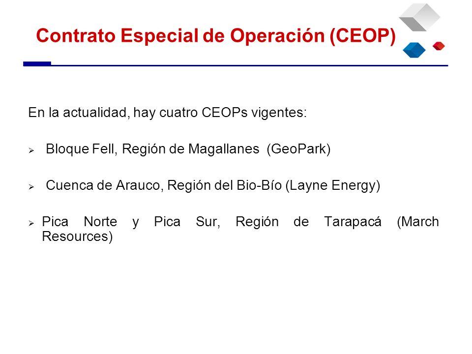 En la actualidad, hay cuatro CEOPs vigentes: Bloque Fell, Región de Magallanes (GeoPark) Cuenca de Arauco, Región del Bio-Bío (Layne Energy) Pica Nort