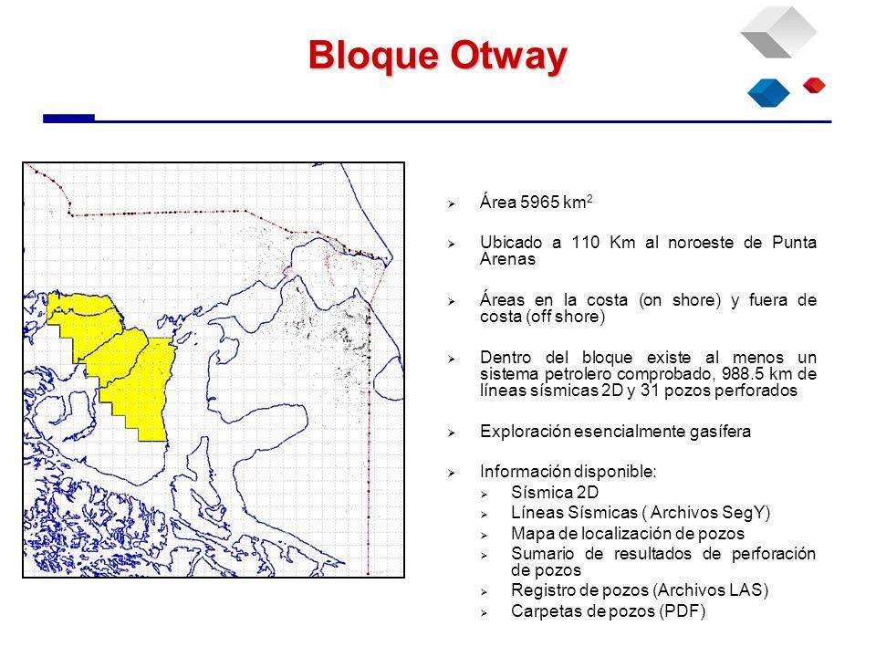 Bloque Otway Área 5965 km 2 Ubicado a 110 Km al noroeste de Punta Arenas Áreas en la costa (on shore) y fuera de costa (off shore) Dentro del bloque e