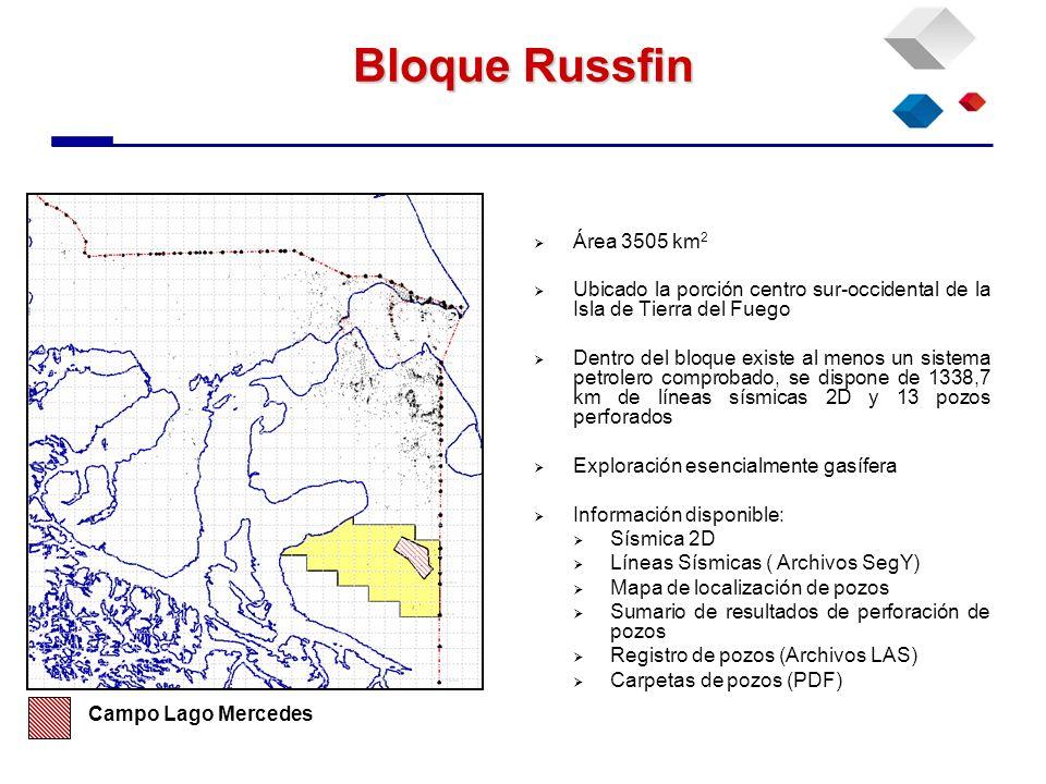 Bloque Russfin Área 3505 km 2 Ubicado la porción centro sur-occidental de la Isla de Tierra del Fuego Dentro del bloque existe al menos un sistema pet