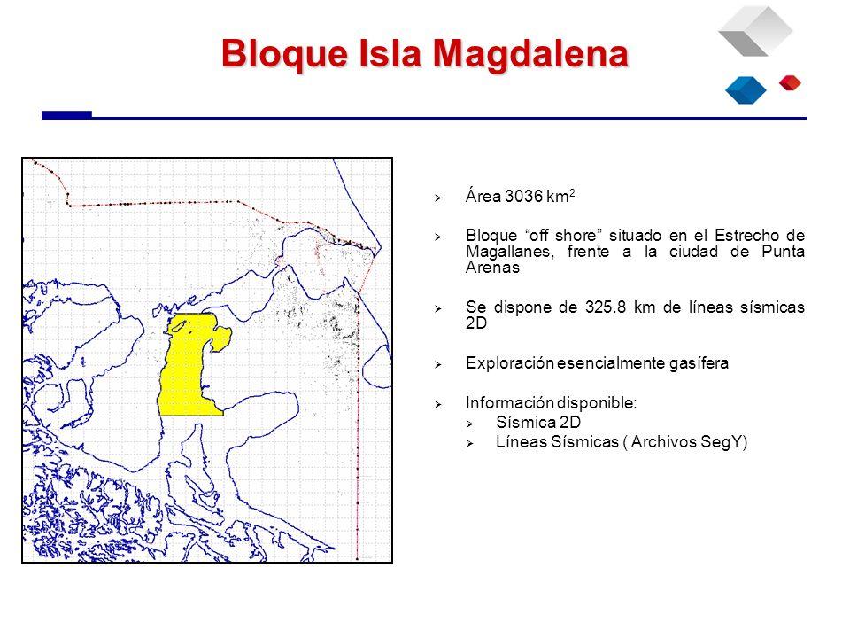 Bloque Isla Magdalena Área 3036 km 2 Bloque off shore situado en el Estrecho de Magallanes, frente a la ciudad de Punta Arenas Se dispone de 325.8 km