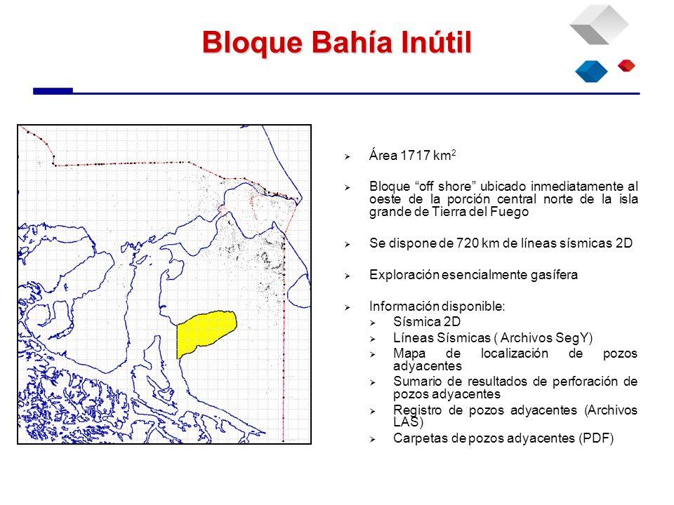 Bloque Bahía Inútil Área 1717 km 2 Bloque off shore ubicado inmediatamente al oeste de la porción central norte de la isla grande de Tierra del Fuego