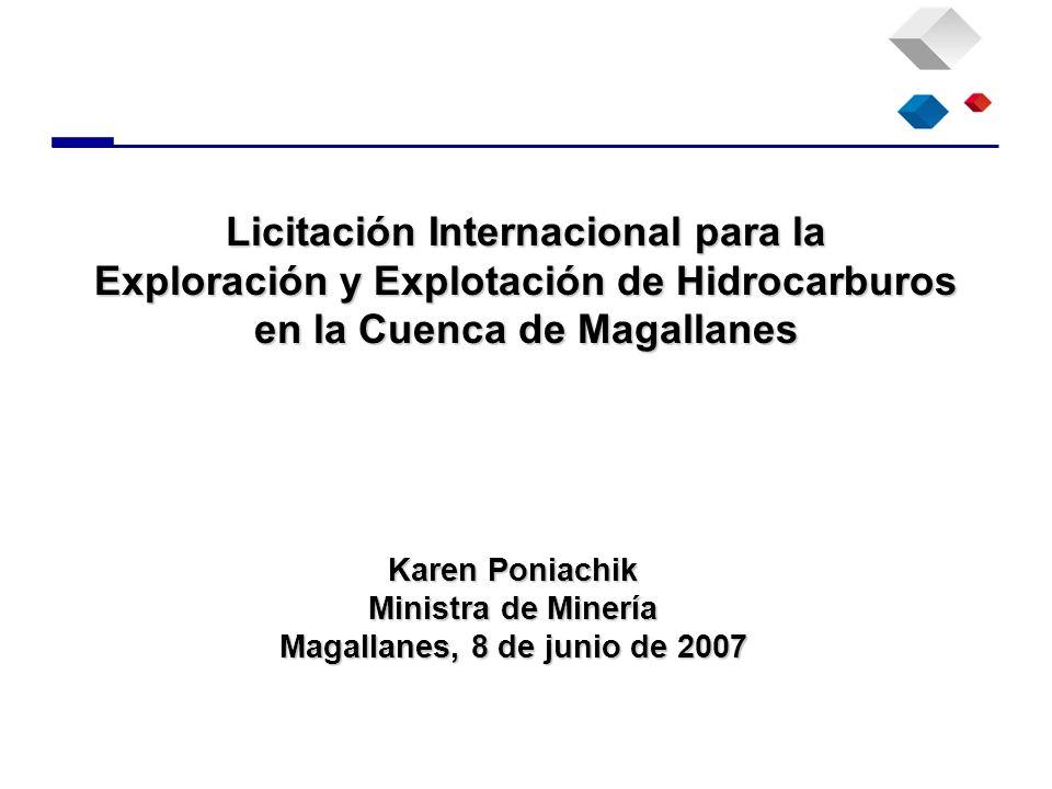 Licitación Internacional para la Exploración y Explotación de Hidrocarburos en la Cuenca de Magallanes Karen Poniachik Ministra de Minería Magallanes,