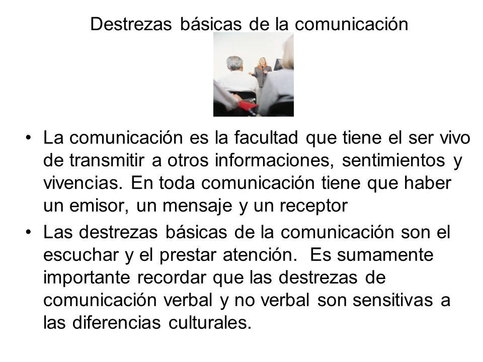 Destrezas básicas de la comunicación La comunicación es la facultad que tiene el ser vivo de transmitir a otros informaciones, sentimientos y vivencia
