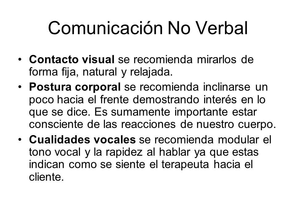 Comunicación No Verbal Contacto visual se recomienda mirarlos de forma fija, natural y relajada. Postura corporal se recomienda inclinarse un poco hac