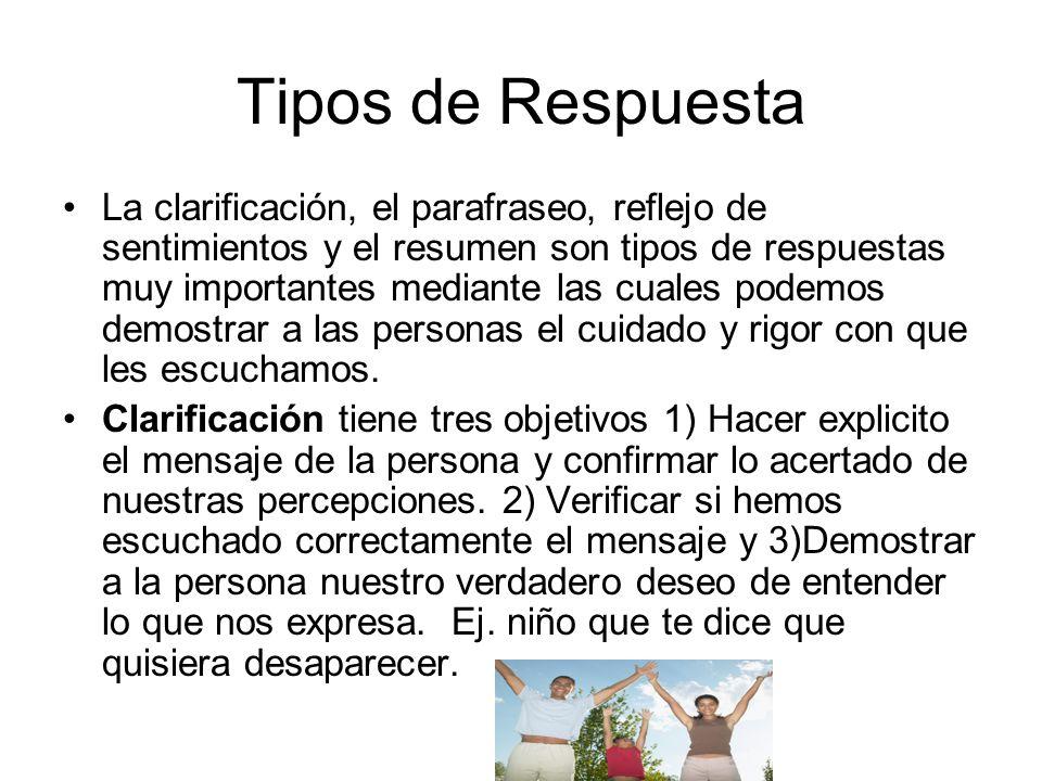 Tipos de Respuesta La clarificación, el parafraseo, reflejo de sentimientos y el resumen son tipos de respuestas muy importantes mediante las cuales p