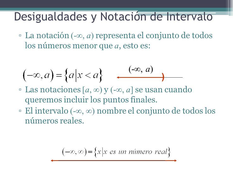 Desigualdades y Notación de Intervalo La notación (-, a) representa el conjunto de todos los números menor que a, esto es: Las notaciones [a, ) y (-,