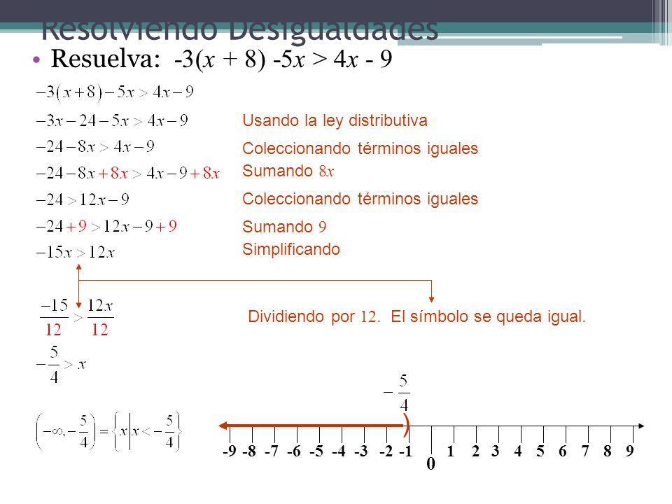 Resolviendo Desigualdades Resuelva: -3(x + 8) -5x > 4x - 9 Usando la ley distributiva Coleccionando términos iguales Sumando 8x Coleccionando términos