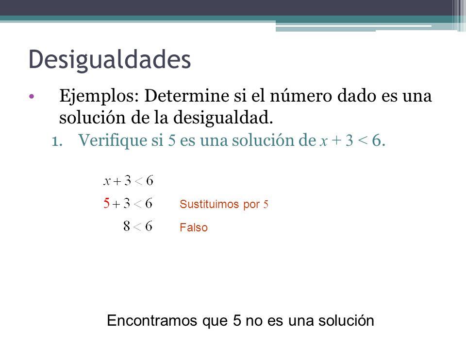 Desigualdades Ejemplos: Determine si el número dado es una solución de la desigualdad. 1.Verifique si 5 es una solución de x + 3 < 6. Sustituimos por
