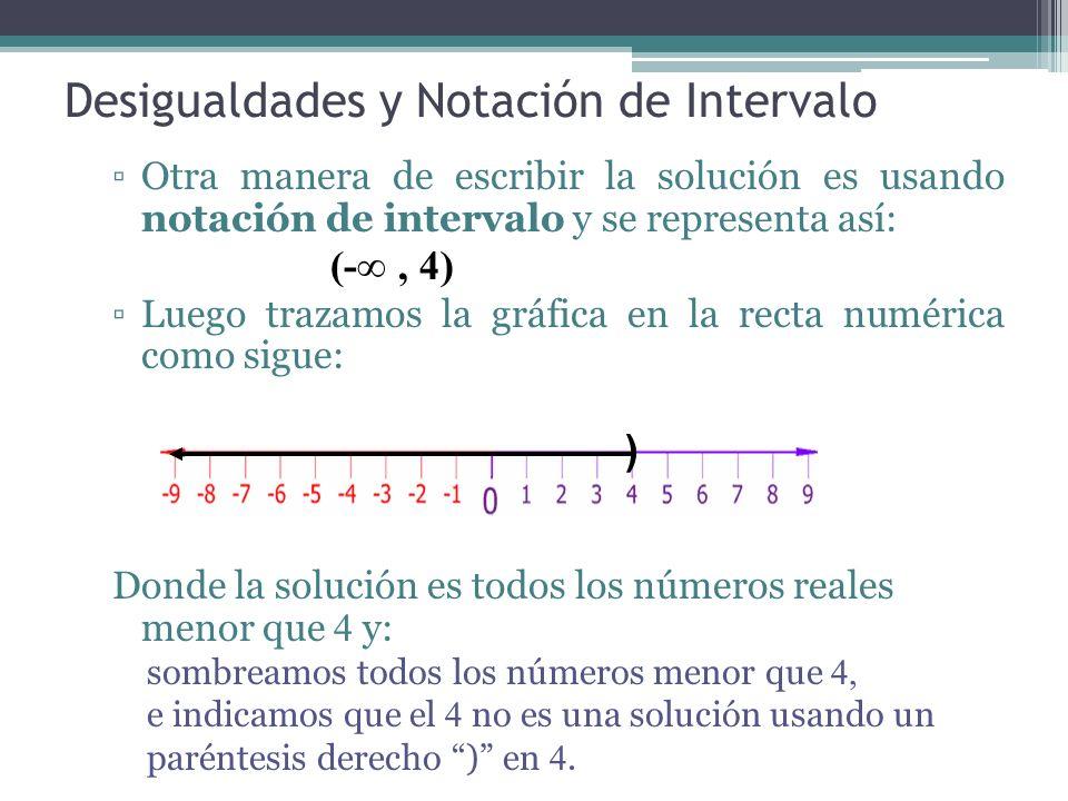 Desigualdades y Notación de Intervalo Otra manera de escribir la solución es usando notación de intervalo y se representa así: (-, 4) Luego trazamos l