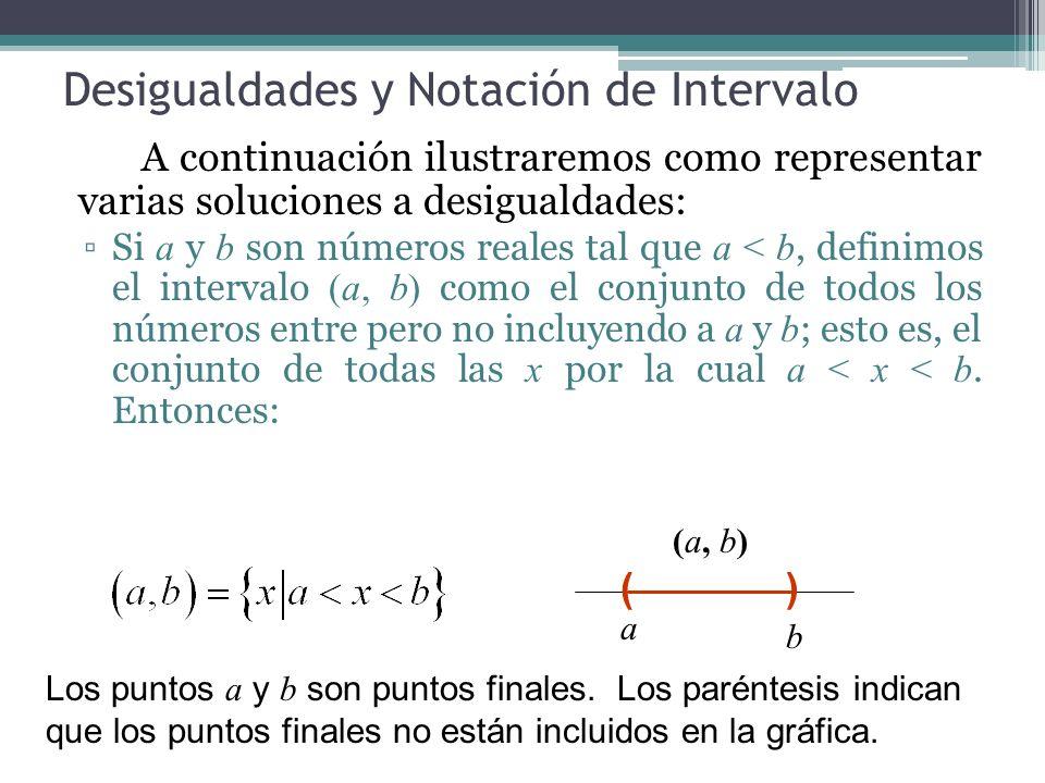 Desigualdades y Notación de Intervalo A continuación ilustraremos como representar varias soluciones a desigualdades: Si a y b son números reales tal