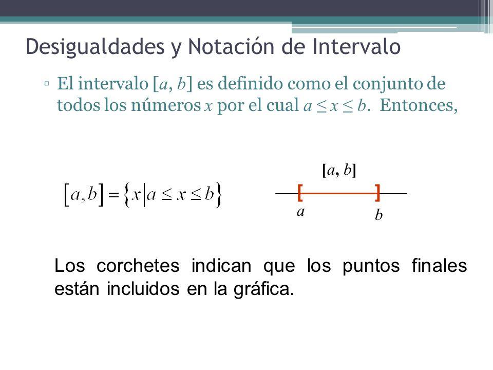 Desigualdades y Notación de Intervalo Los siguientes intervalos incluyen un punto final y excluye el otro: La gráfica excluye el punto a e incluye el punto b : La gráfica incluye el punto a y excluye el punto b: )[ [a, b) a b ]( (a, b] a b
