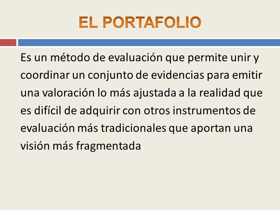 QUÉ ES UN PORTAFOLIO El Portafolio es un método de enseñanza, aprendizaje y evaluación que consiste en la aportación de producciones de diferente índole por parte del estudiante a través de las cuáles se pueden juzgar sus capacidades en el marco de una disciplina o materia de estudio.
