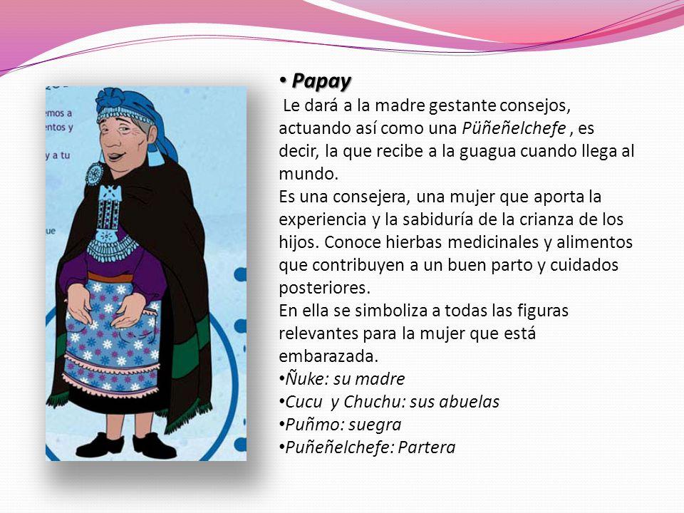 Papay Papay Le dará a la madre gestante consejos, actuando así como una Püñeñelchefe, es decir, la que recibe a la guagua cuando llega al mundo. Es un