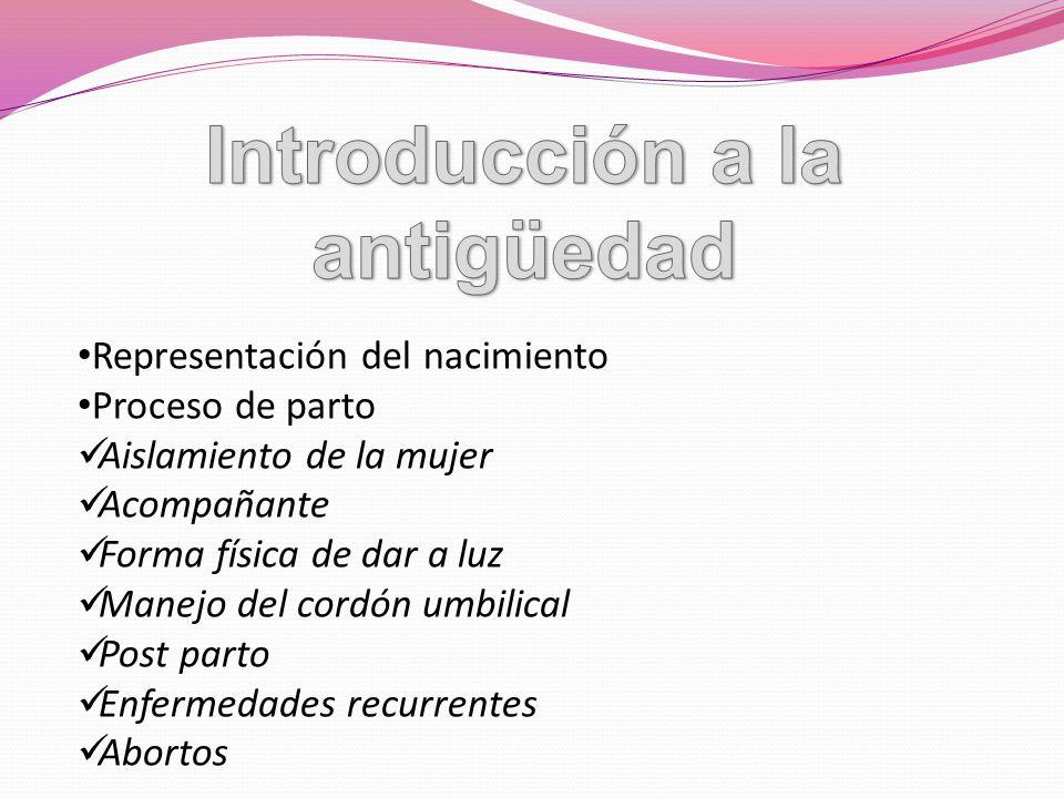Representación del nacimiento Proceso de parto Aislamiento de la mujer Acompañante Forma física de dar a luz Manejo del cordón umbilical Post parto En