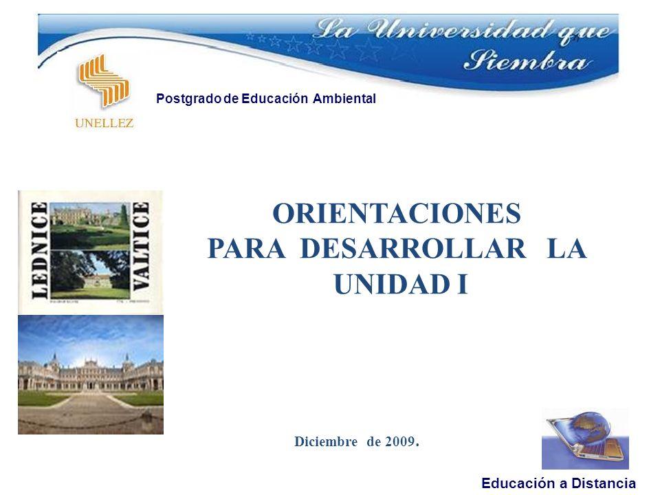 Diciembre de 2009. Educación a Distancia Postgrado de Educación Ambiental ORIENTACIONES PARA DESARROLLAR LA UNIDAD I