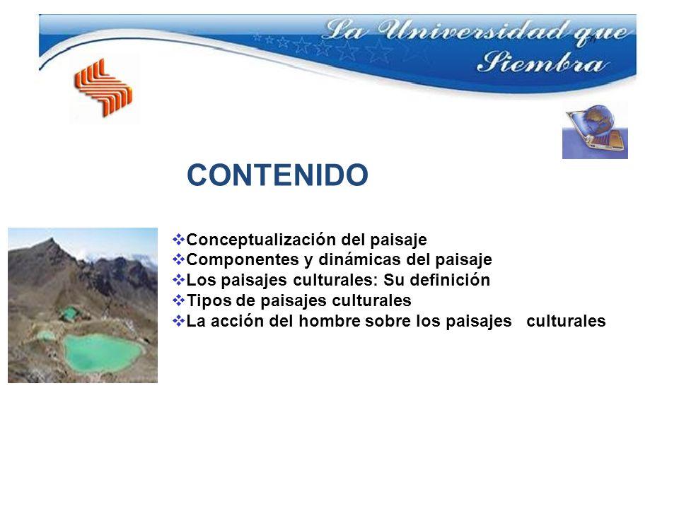 CONTENIDO Conceptualización del paisaje Componentes y dinámicas del paisaje Los paisajes culturales: Su definición Tipos de paisajes culturales La acc