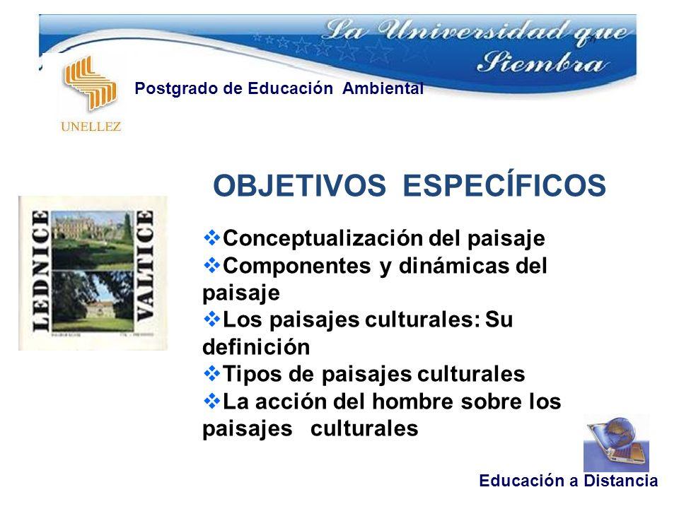 Educación a Distancia Postgrado de Educación Ambiental OBJETIVOS ESPECÍFICOS Conceptualización del paisaje Componentes y dinámicas del paisaje Los pai