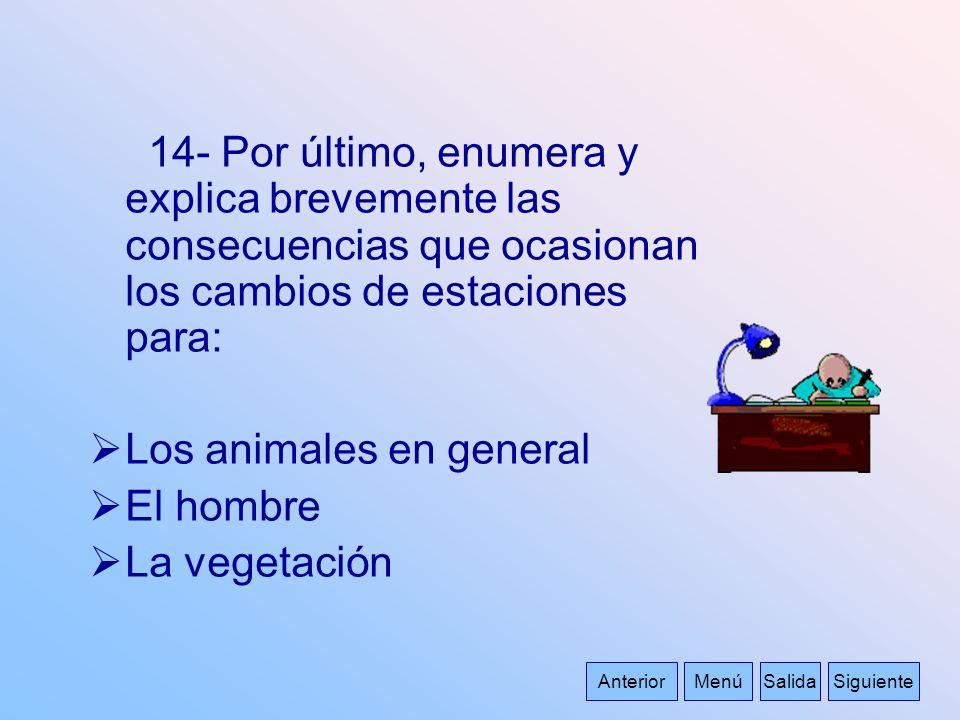 14- Por último, enumera y explica brevemente las consecuencias que ocasionan los cambios de estaciones para: Los animales en general El hombre La vege