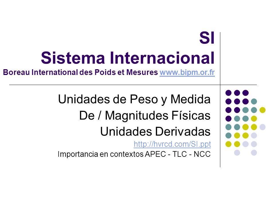 SI Sistema Internacional Boreau International des Poids et Mesures www.bipm.or.frwww.bipm.or.fr Unidades de Peso y Medida De / Magnitudes Físicas Unid