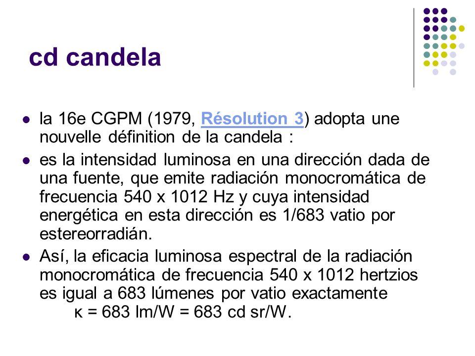 cd candela la 16e CGPM (1979, Résolution 3) adopta une nouvelle définition de la candela :Résolution 3 es la intensidad luminosa en una dirección dada